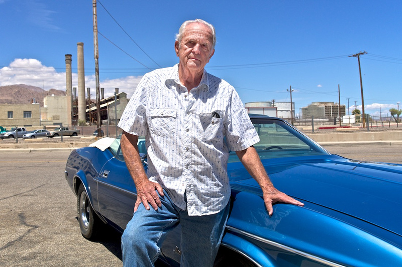 Joe Hudson with Blue Ford Mustang Convertible - Trona, CA - 2015