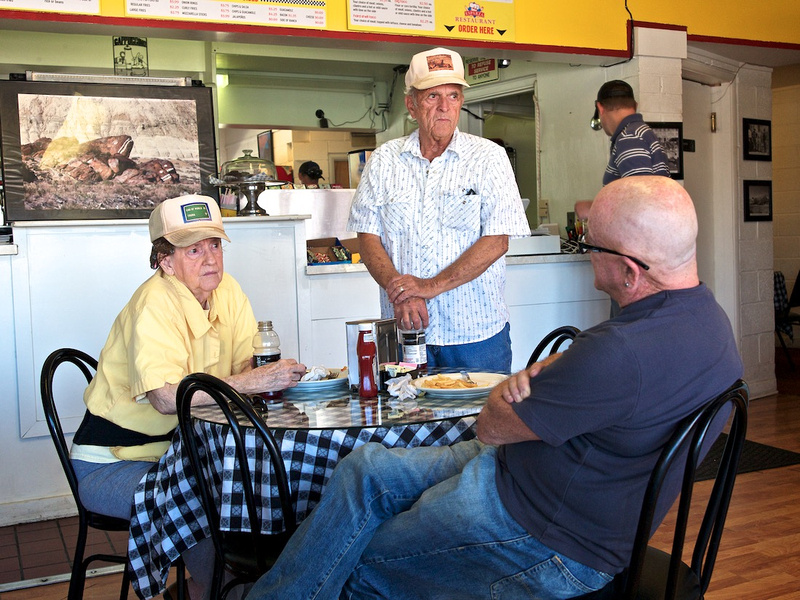Delores & Joe Hudson with Christopher Langley - Esparza Family Restaurant - Trona, CA - 2015