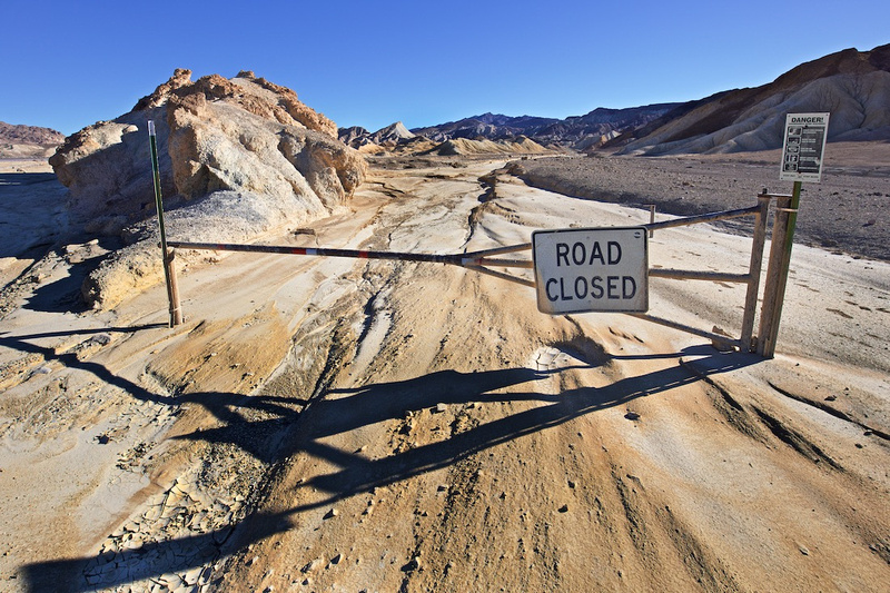 Road Closed - 20 Mule Team Road - Death Valley, CA - 2015