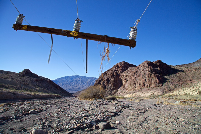 Overhead Power Lines Left Hanging After Flood - Death Valley, CA - 2015