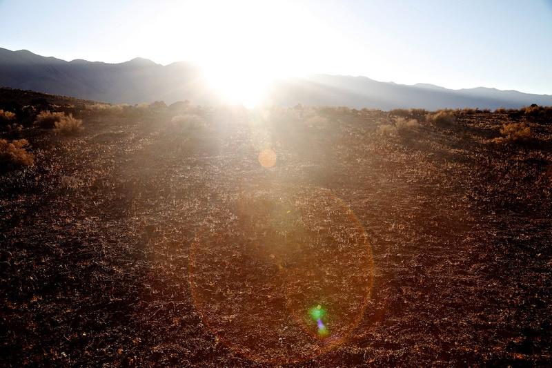 Sunset Behind Sierra Nevada - Fossil Falls, CA - 2015