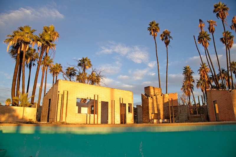 Burnt-Out Buildings Viewed from Empty Pool - Thermal, CA - 2016