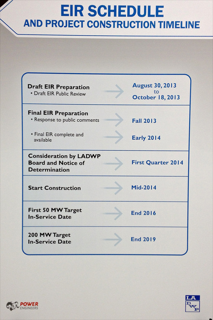 Display at Public Comments Meeting for Proposed LADWP Owens Valley Solar Ranch