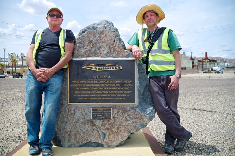 Christopher Langley & Osceola Refetoff at Austin Hall Marker - Trona, CA - 2015