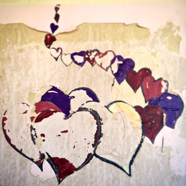 Hearts Graffiti Detail - Trona, CA - 2015
