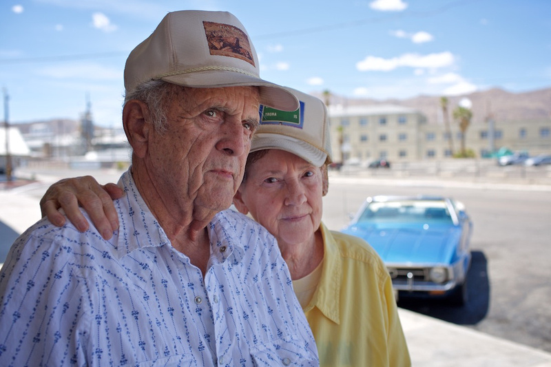 Joe & Delores Hudson in Front of Esparza Family Restaurant - Trona, CA - 2015