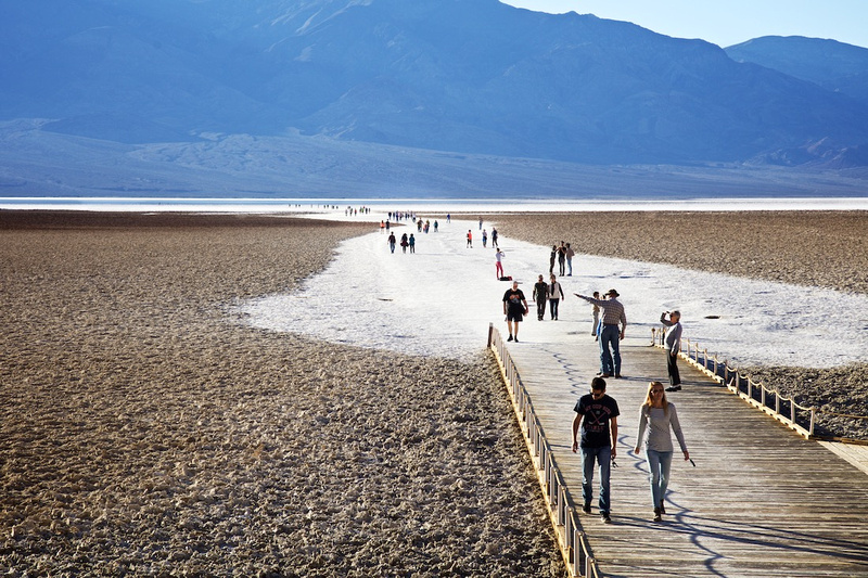 Tourists at Badwater Basin - Death Valley, CA - 2015
