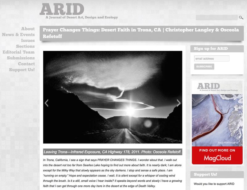 Arid: A Journal of Desert Art, Design and Ecology - Prayer Changes Things: Desert Faith in Trona, CA - Oct 2015