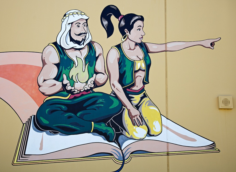 Coachella Valley High School Mural with Genie Mascots - Thermal, CA - 2016