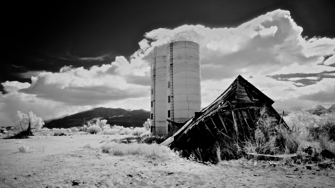 Twin Silos and Collapsed Farm Building - Bishop, CA - 2016