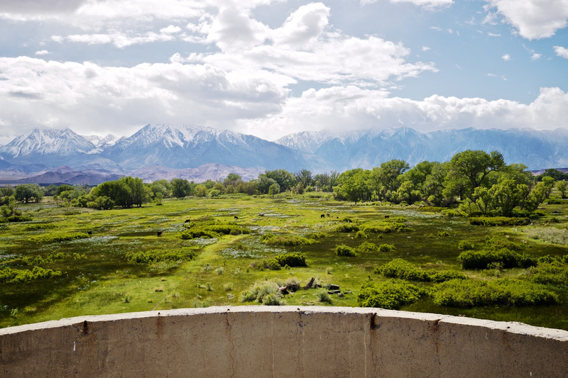 View from Atop Silo onto Naturally Irrigated Pasture and Snowcapped Sierra Nevada - Bishop, CA - 2016