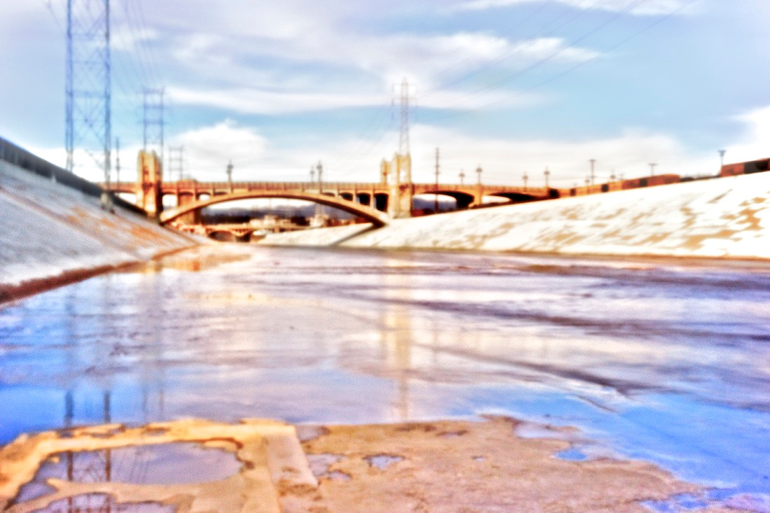 LA River Facing North Towards Fourth St Bridge (Purple & Gold) - Pinhole Exposure - Los Angeles, CA - 2011