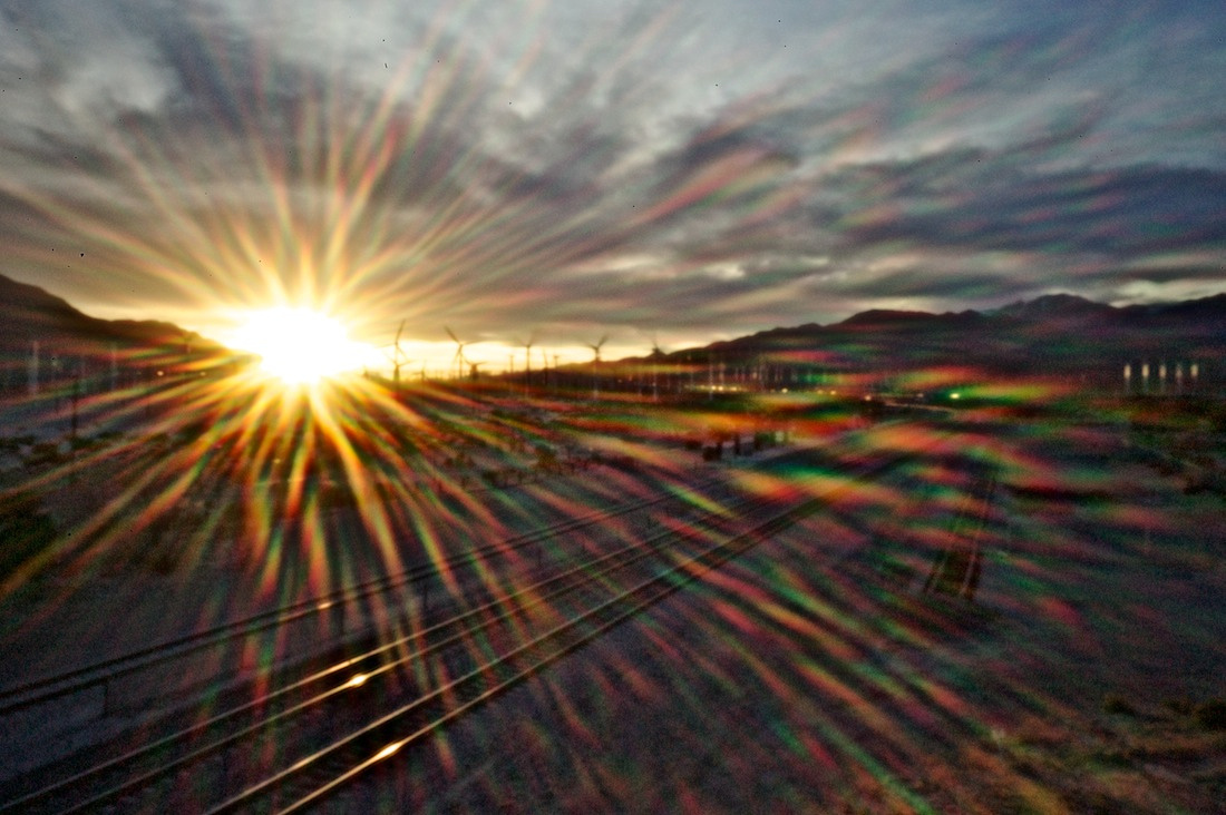 Sunset/Windmills/Railroad Tracks/Lens Flare - Palms Springs, CA - 2011