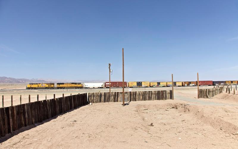 Desert Ruin with Train Passing - Salton Sea, CA - 2014