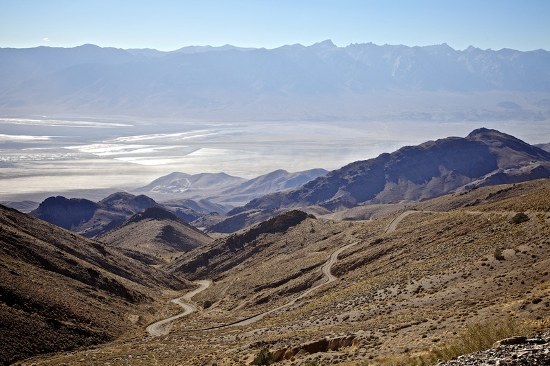 The old Yellow Grade Road (dust storm on Owens Lake below) - Cerro Gordo, CA - 2014