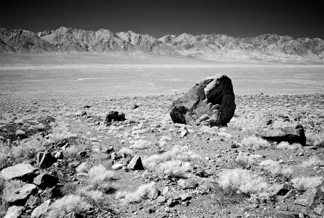 Proposed Owens Valley Solar Ranch Site (SOVSR) beyond large rock - Near Manzanar, CA - 9/25/13