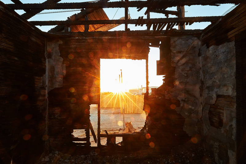 Window View from Charred House at 2223 Trinity St – Sunset – Mojave, CA – 2016