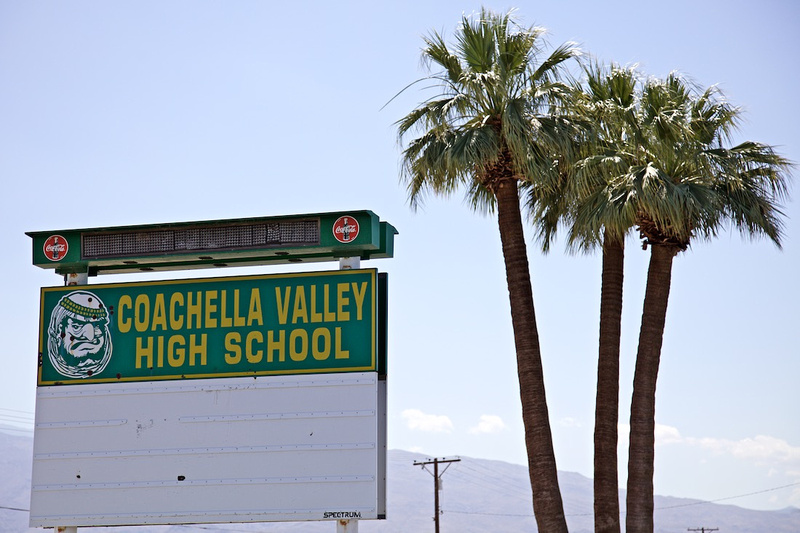 Coachella Valley High School Sign with Old Mascot - Thermal, CA - 2016