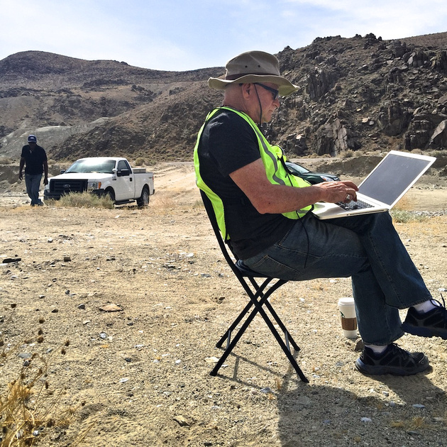 Henry Jones Approaches Christopher Langley on Laptop - Poison Canyon, CA - 2015