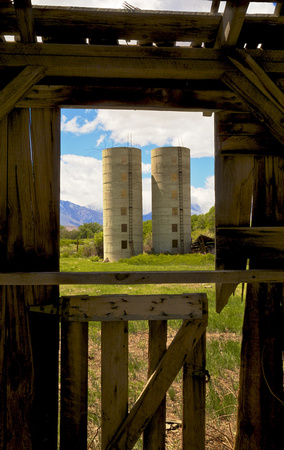 Window View of Twin Silos from Abandoned Barn - Bishop, CA - 2016